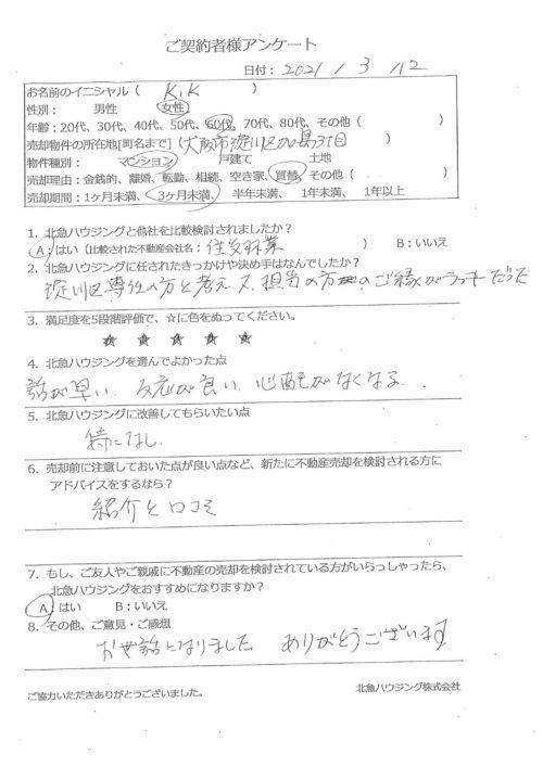 大阪市淀川区加島3丁目マンションのアンケート画像